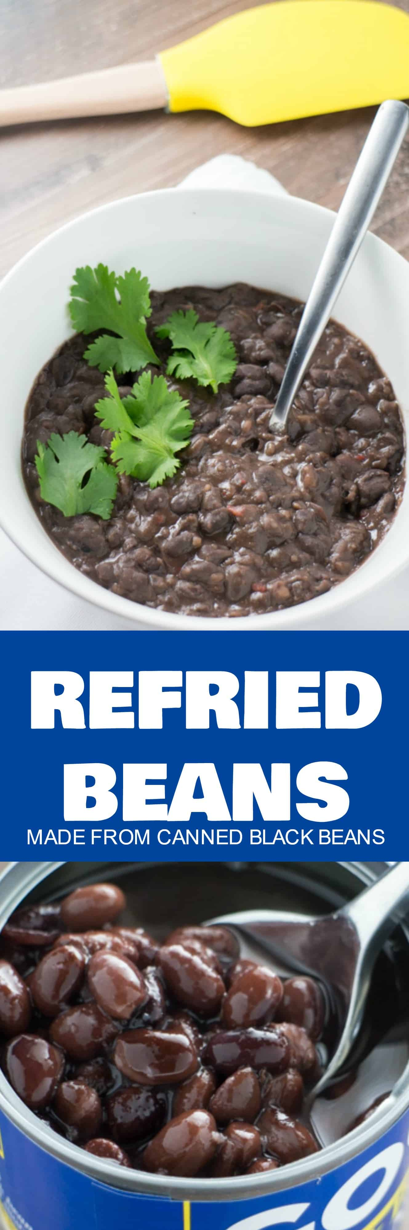 Easy Refried Beans Recipe made from canned black beans! These homemade beans only take 15 minutes! These refried beans taste like your favorite Mexican restaurant!  Perfect for Taco night meals!