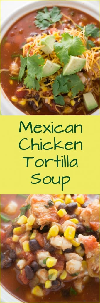 AUTHENTIC Mexican Chicken Tortilla Soup!  This easy to make tortilla soup is made with chicken, crushed tomatoes, hominy, black beans, corn and more!