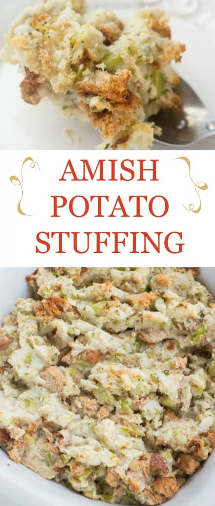 A delicious potato stuffing recipe, just like the Amish make it in Pennsylvania Dutch country. You'll love how simple and authentic this Amish Potato Stuffing is!
