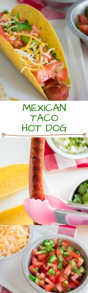 Mexican Taco Salsa Hot Dog recipe. This hot dog, taco combination is super tasty! It's perfect for Summer grilling too!