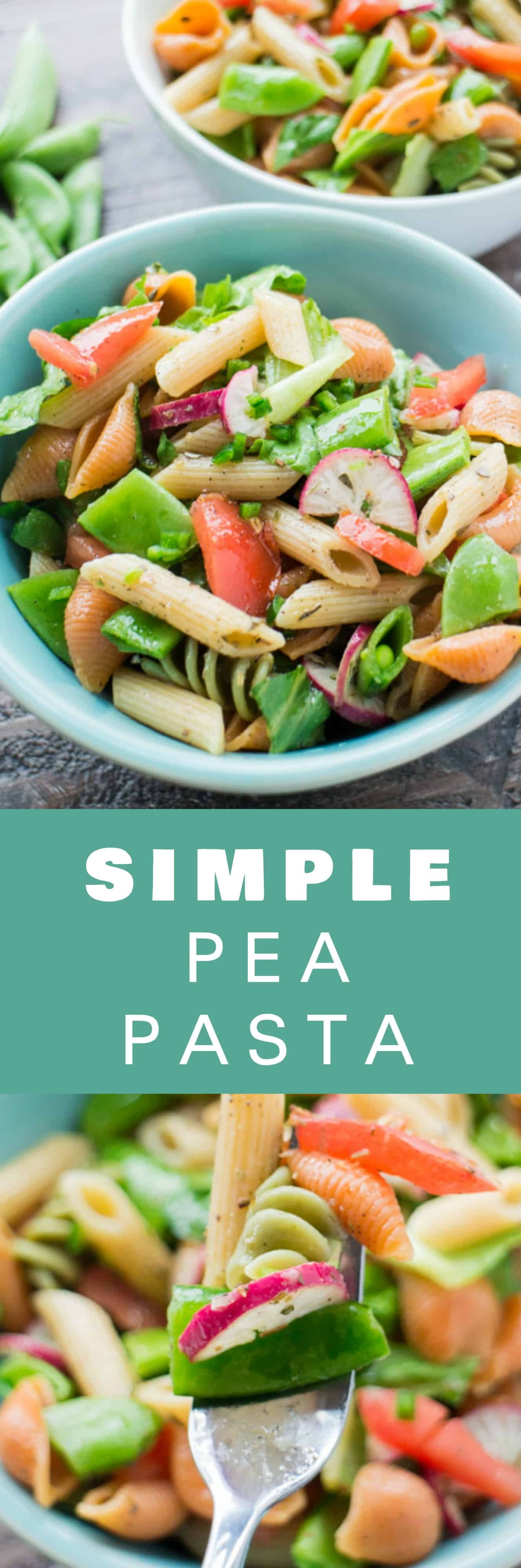 SIMPLE Pea Pasta recipe! This easy and healthy dinner dish uses fresh sugar snap peas and only takes 15 minutes from to start to finish! It's my favorite Spring and Summer garden recipe! It's completely vegan too!