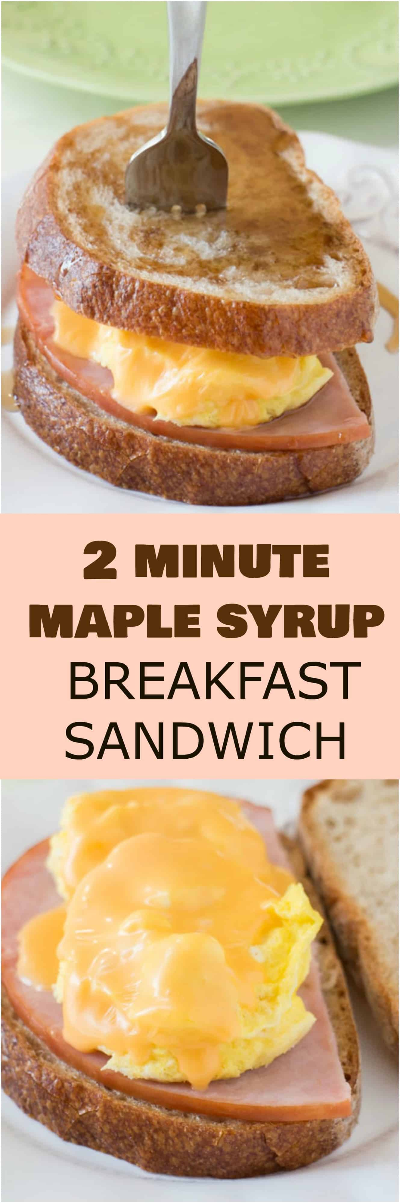 These taste like FRENCH TOAST! EASY, YUMMY breakfast sandwich made in 2 MINUTES! This Maple Syrup, Egg, Ham and Cheese Sandwich recipe is great for a quick breakfast! You can freeze the sandwiches to make ahead too!