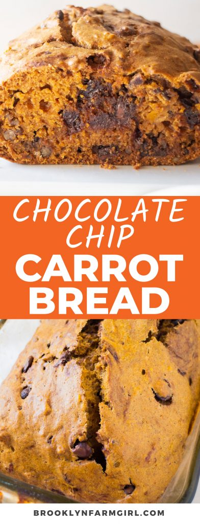 This warm and delicious Chocolate Chip Carrot Bread is swirled with the flavors of sweet mashed carrot, fall spices, crunchy pecan chunks, and ooey gooey chocolate chips. It has everything you love about carrot cake, but is baked quickly into a sweet bread loaf!