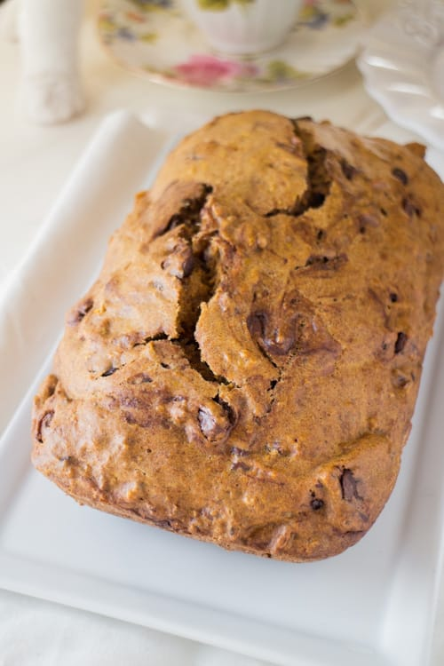 EASY recipe for CHOCOLATE CHIP CARROT BREAD! This homemade loaf uses fresh carrots and takes 1 hour to bake! The bread tastes just like cake - it's so moist! This is one of my BEST carrot recipes! Serve for breakfast, dessert or snack!