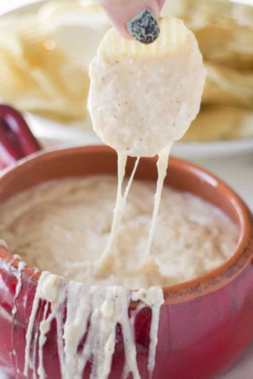 SLOW COOKER Creamy Onion Dip is so creamy and easy to make. Caramelized onions are mixed with sour cream and mozzarella cheese to make a extra creamy homemade dip! This simple recipe is best served hot with potato chips - perfect for a party dip!
