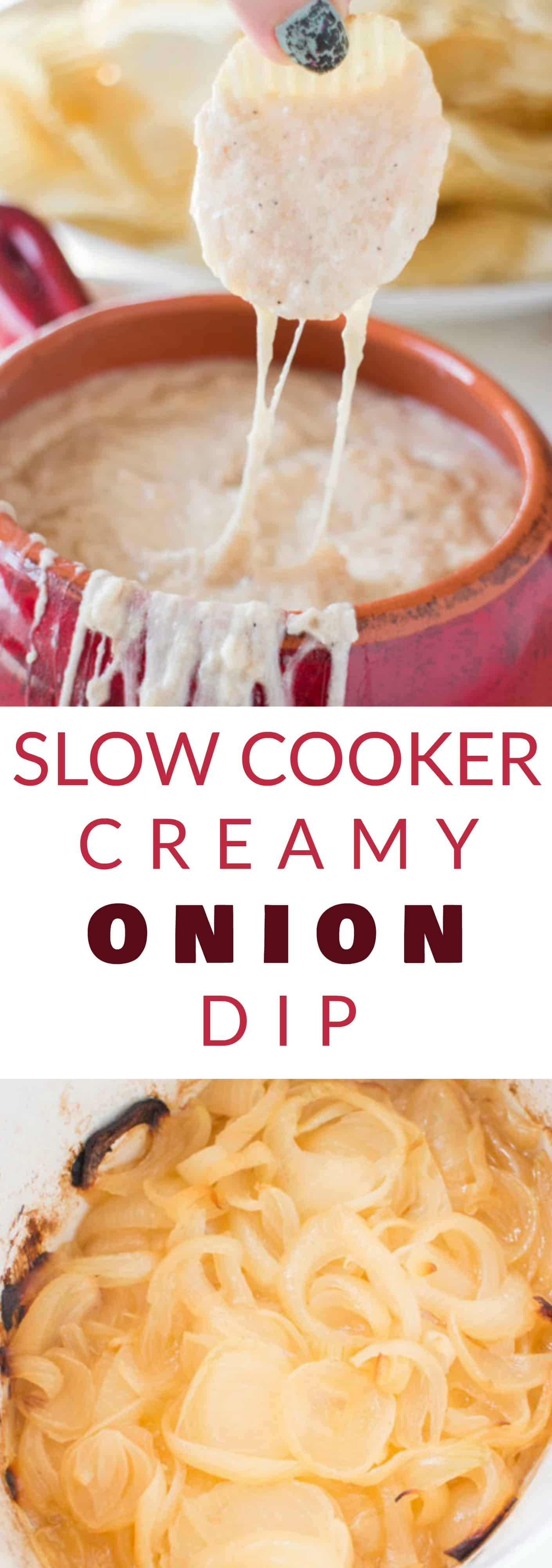 THE BEST PARTY SLOW COOKER Creamy Onion Dip is so easy to make.  Caramelized onions are mixed with sour cream and mozzarella cheese to make a extra creamy homemade dip!  This simple recipe is best served hot with potato chips - perfect for a party dip!