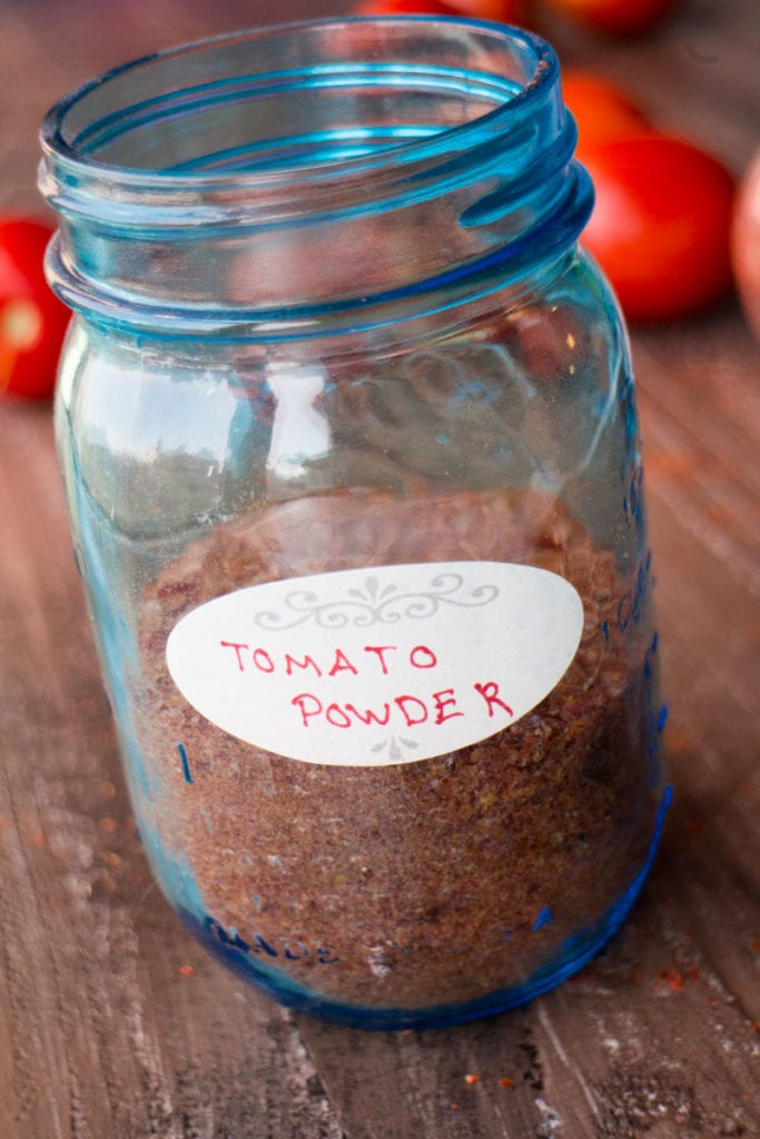 tomato powder in mason jar