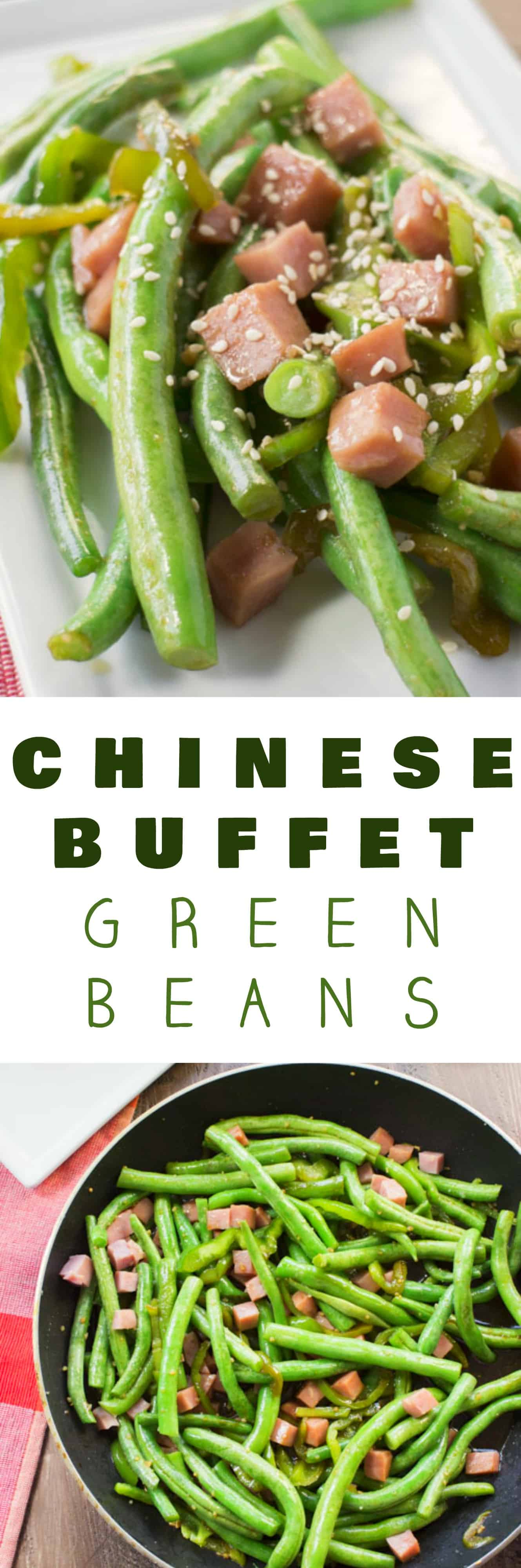 EASY and HEALTHY Chinese Green Beans With Ham recipe! These taste just like the Chinese buffet! A soy sauce garlic sauce is added on top of the beans in this easy to make dish that only takes 15 minutes to make!