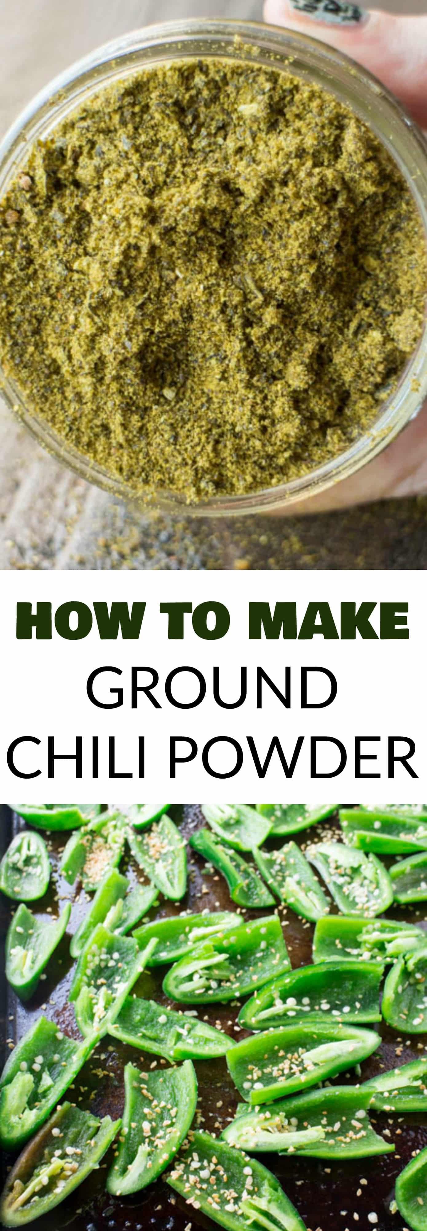 EASY STEP BY STEP directions on How to Make Ground Chili Powder from Jalapeno Peppers! This homemade recipe shows how to dry jalapeno peppers and then crush into ground seasoning. It's a super easy DIY project, perfect if you have extra jalapeno peppers! I do this every Summer with our garden peppers!