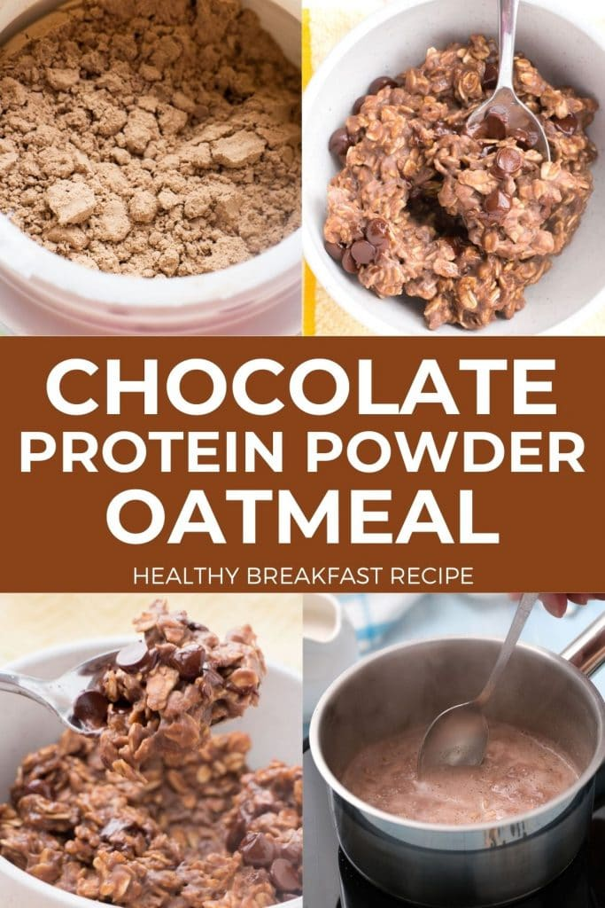 Chocolate Protein Powder Oatmeal is a healthy breakfast recipe!  This protein oatmeal is made with chocolate protein powder and chocolate chips! Who doesn't want chocolate for breakfast?