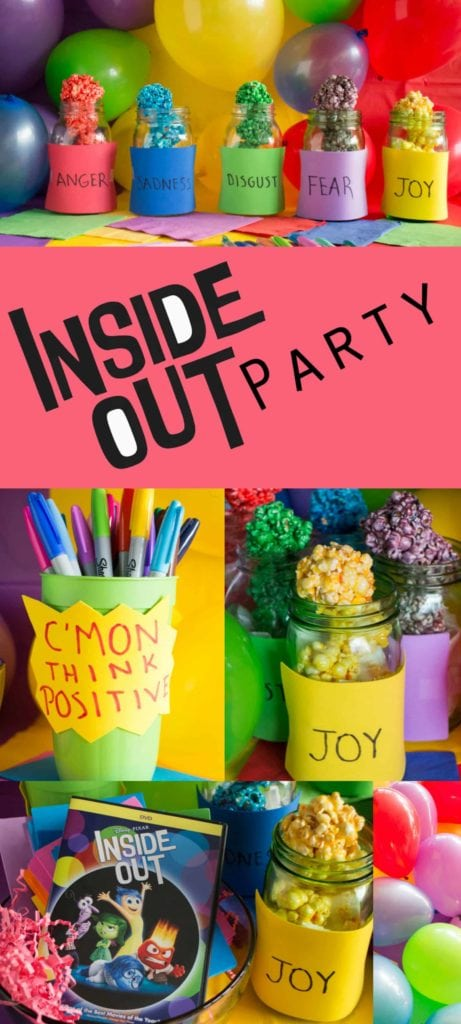 Directions on how to throw a Inside Out Party on a budget!   This provides tableware, menu, games and more!