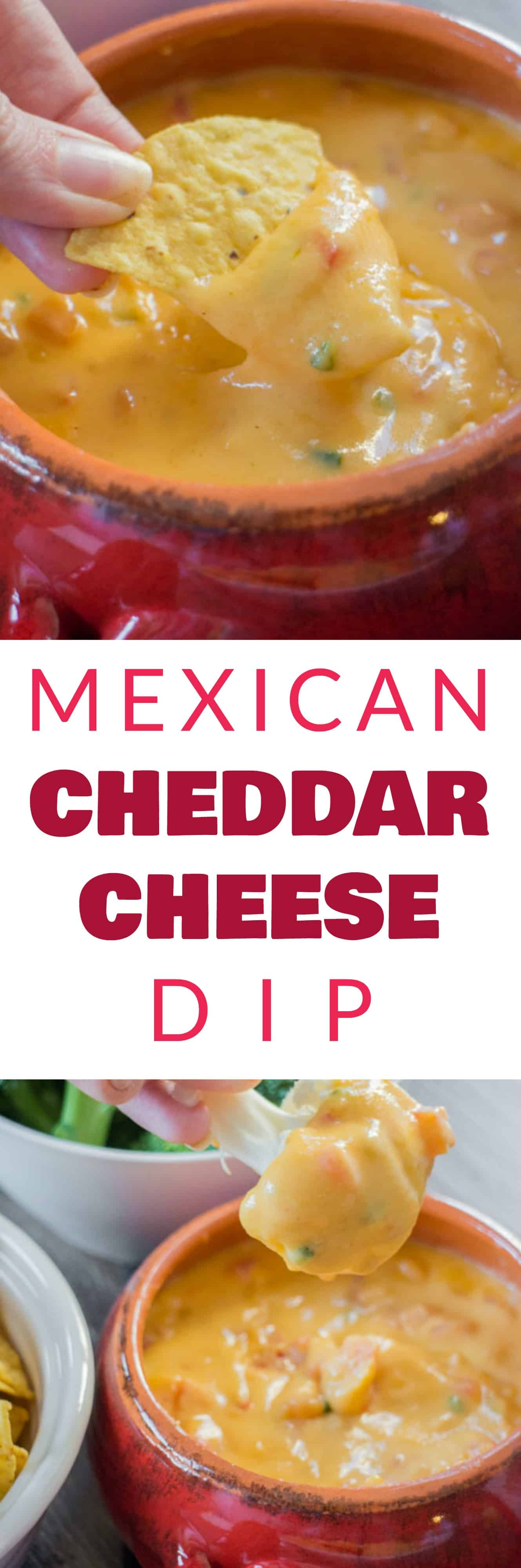 EASY MEXICAN Cheddar Cheese Dip made with 1 bag of shredded cheese, milk and other simple ingredients. This delicious dip can be served with tortilla chips, crackers, vegetables or on top of nachos! It's always the hit of the party!