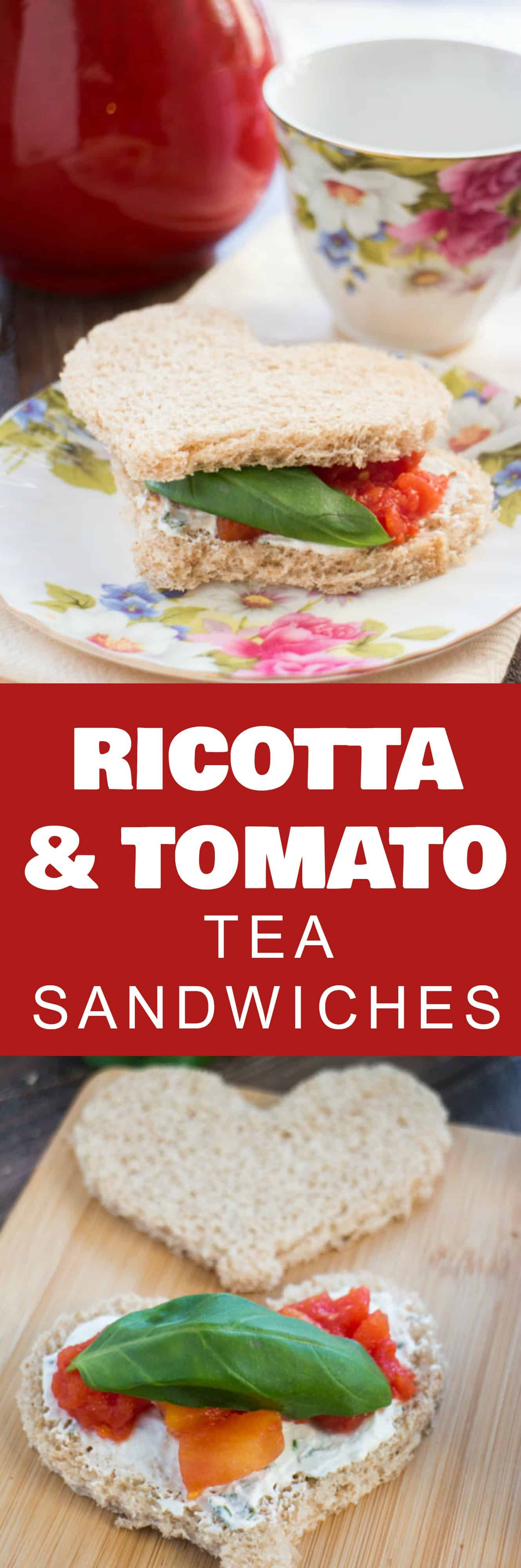 EASY Ricotta and Tomato Tea Sandwiches made with tomatoes and an easy homemade ricotta garlic mixture that tastes amazing! Use cookie cutters to cut out fun shapes in your bread – perfect for an afternoon tea party, baby shower or an every day lunch! As an added plus, these tea sandwiches can be made ahead of time!