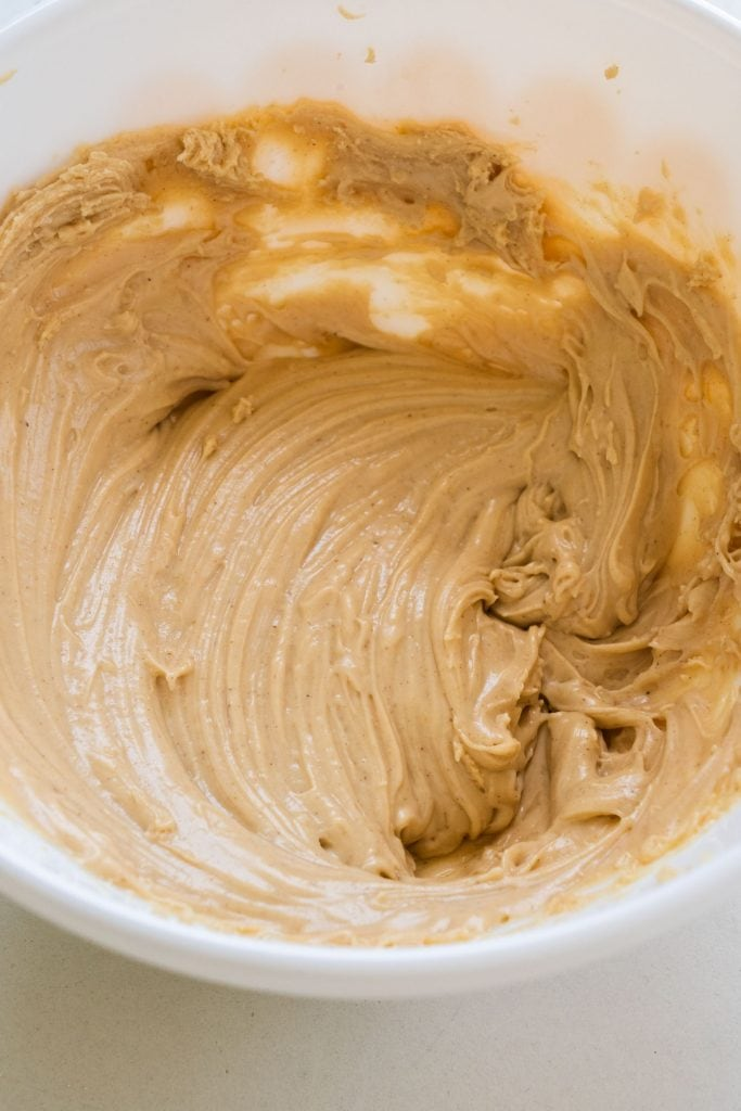 peanut butter frosting in bowl.