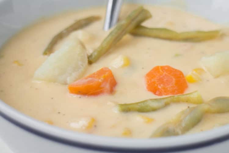 If you're looking for a Winter soup that will warm you up then look no further - this Cheesy Vegetable Soup is it!