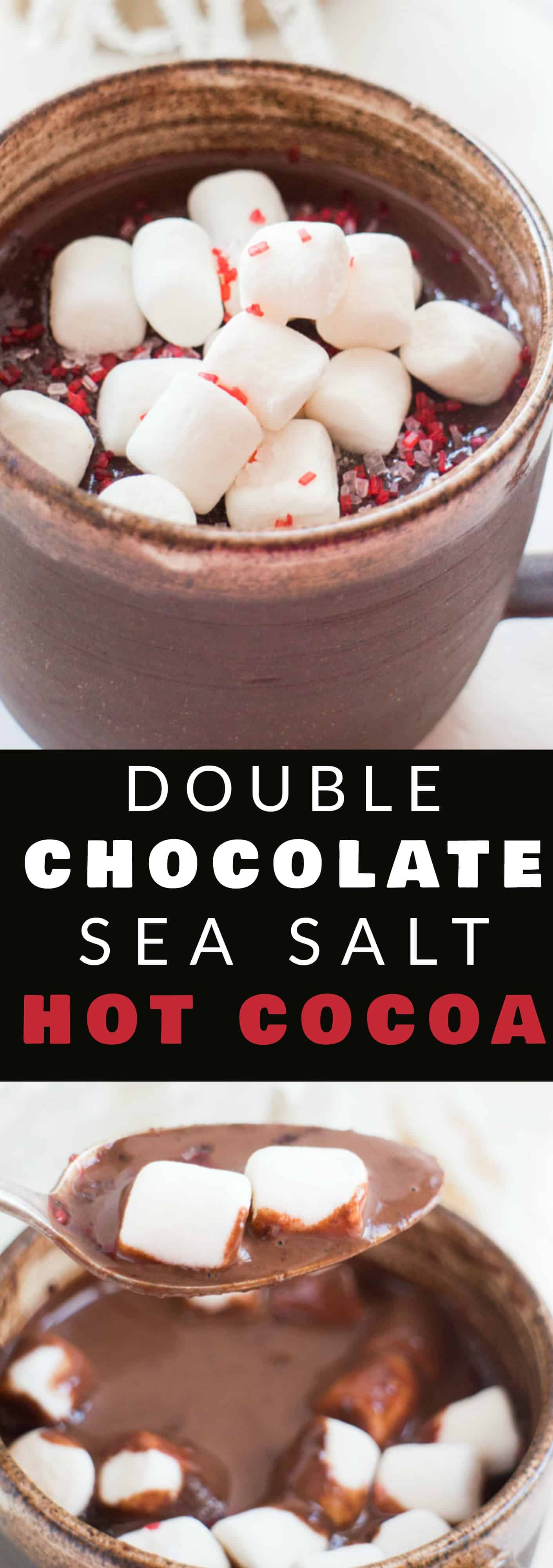 DOUBLE CHOCOLATE Sea Salt Hot Cocoa! This is our favorite homemade hot chocolate recipe, it's so rich and creamy! It's easy and quick to make!  It's  I love adding a sprinkle of sea salt on top to help balance out the double chocolate! This drink is for chocolate lovers!