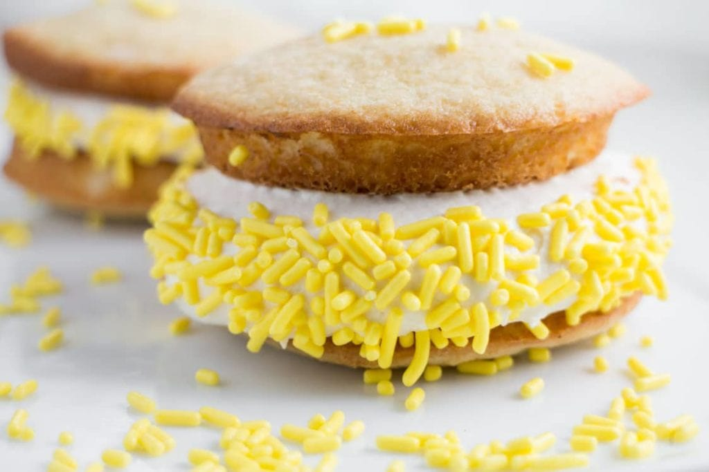 whoopie pie with yellow sprinkles