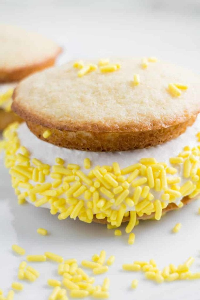 Vanilla Whoopie Pies With Marshmallow Cream Filling. These whoopie pies taste like cake with creamy marshmallow filling inside. These taste just like the whoopie pies you buy at the Amish market!