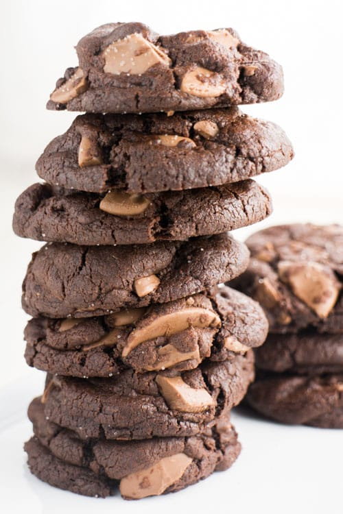 Double Chocolate Chip Cookies are thick, chewy and loaded with chocolate! These cookies are made from scratch and you'll love how EASY the recipe is! Live dangerously with these irresistible, softest chocolate chip cookies that have a dash of sea salt on top! One of our favorite homemade cookies to make around the holidays or anytime.