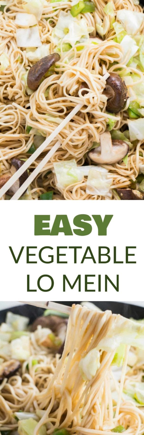 10 MINUTE, EASY Vegetable Lo Mein! This simple recipe uses dry lo mein noodles and lots of vegetables to make a healthy dish that tastes just like your favorite Chinese restaurant! I love that the authentic sauce is made with basic pantry ingredients!