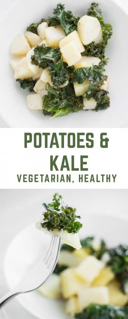 EASY recipe for Potatoes and Kale, my favorite healthy meal.   The ingredients are simple: potatoes, kale, and olive oil - that's it!