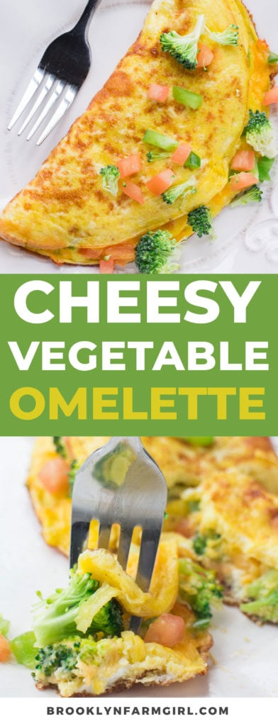 Cheesy Vegetable Omelette is packed with garden fresh vegetables!   This healthy breakfast recipe is easy to make and shows you how to make a perfect omelette step by step!