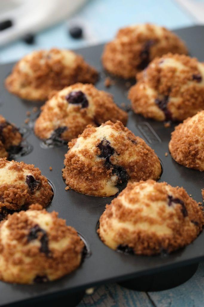 fluffy mini muffins in mini muffin pan