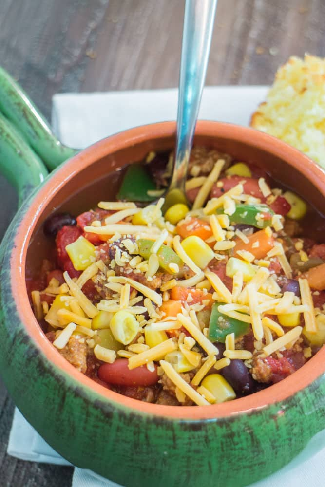 Delicious Vegetarian Chili made in 45 minutes that even meat eaters will love!