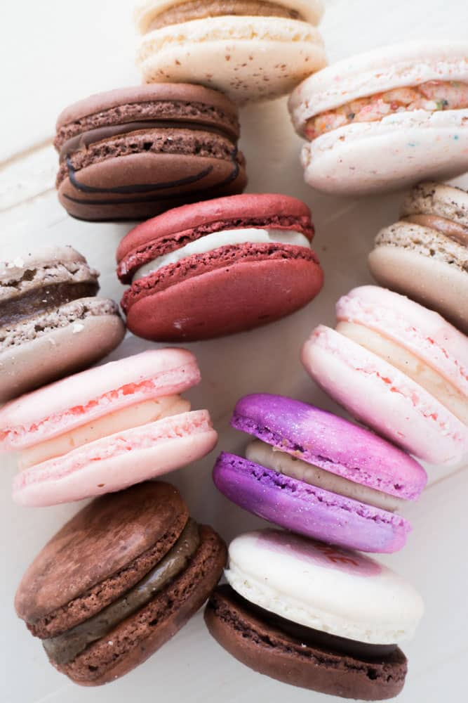 Birthday Cake, Fruity Cereal, Cookie Dough, Molten Chocolate, S'mores and more - these are my favorite macarons!