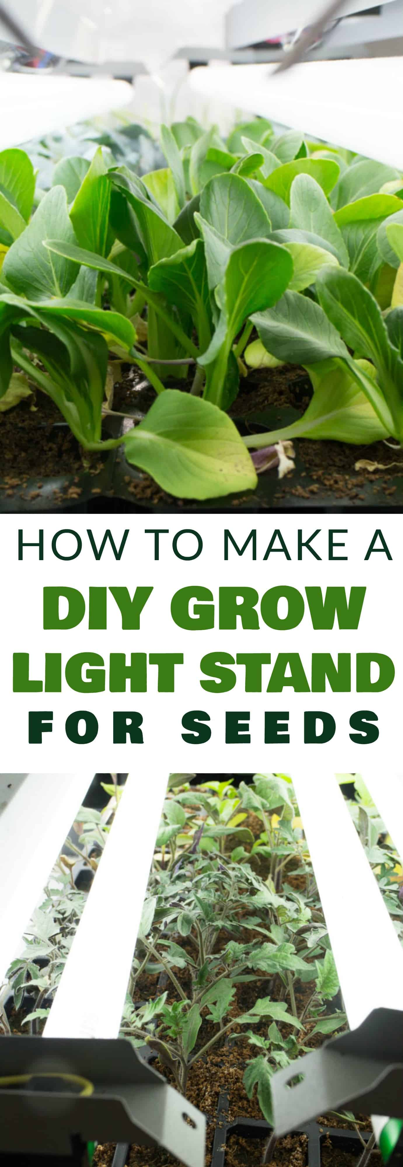Garden MUST HAVE for starting your vegetable seeds!  With just a few supplies from the home improvement store you can make your own DIY Seed Grow Light Stand.  This is a easy project to make instead of buying a store bought light stand - saving you hundreds of dollars!  We use this for our seeds and they grow amazing - last Summer we picked over 1,000 pounds of vegetables!