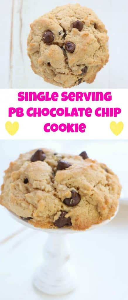 The PERFECT DIET COOKIE! This delicious Single Serving Peanut Butter Chocolate Chip Cookie recipe will save the day (and your waistline!).
