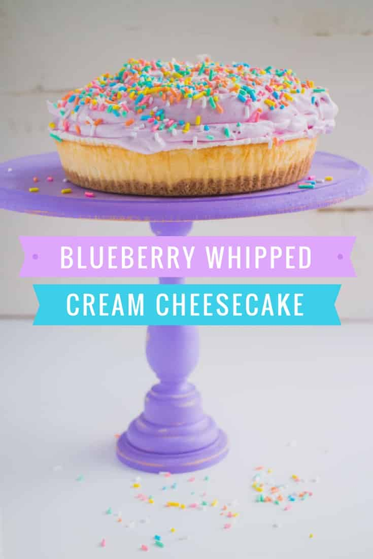 Enjoy this easy dessert recipe for Blueberry Whipped Cream Cheesecake! This delicious cake has a pretty pastel sprinkled natural topping made from blueberries. It's the perfect way to turn a boring cake into a beautiful birthday cheesecake!
