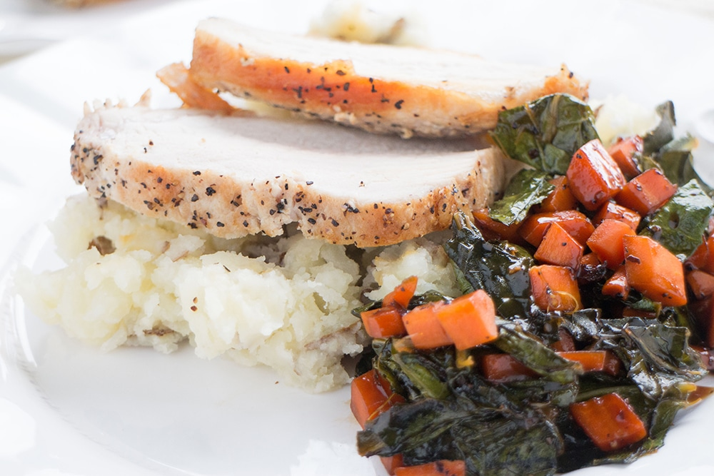 In just 45 minutes Roast Pork & Mashed Potatoes with Molasses-Stewed Collard Greens will be ready enjoy. Your family will love this classic comforting meal!