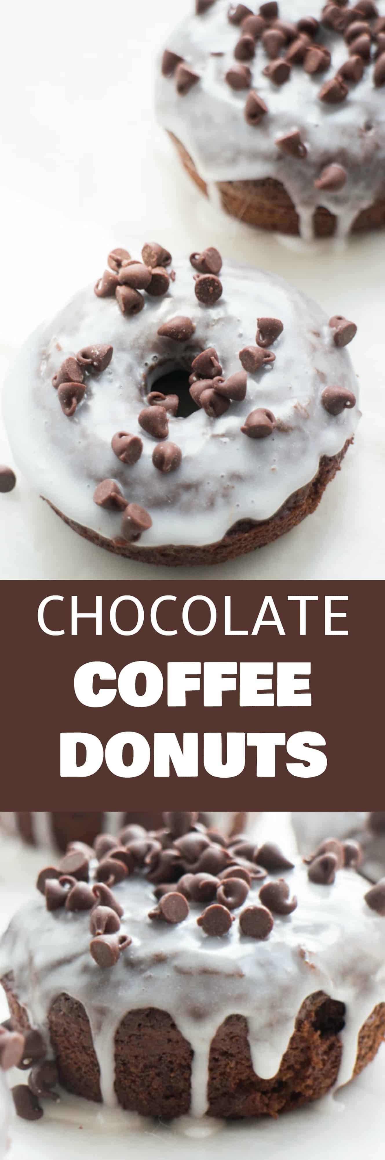 Easy to make Chocolate Coffee Donuts with Vanilla Chocolate Chip Frosting! This donut recipe is a family favorite! Everyone thinks they're delicious!