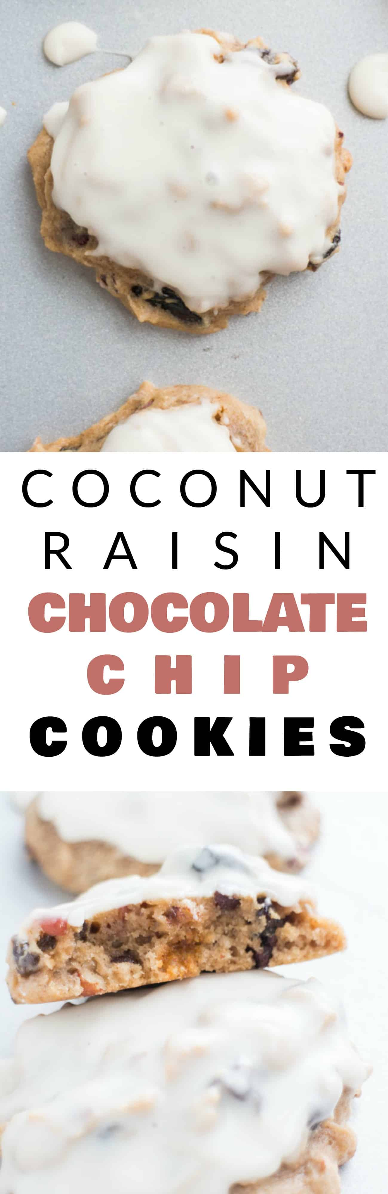 CHEWY Coconut Raisin Chocolate Chip Cookies with AMAZING sugar glaze on top! This easy, healthy recipe is going to become your new favorite cookie! The cookies are loaded with raisins and pecans so they make the perfect breakfast or dessert - my entire family loves them