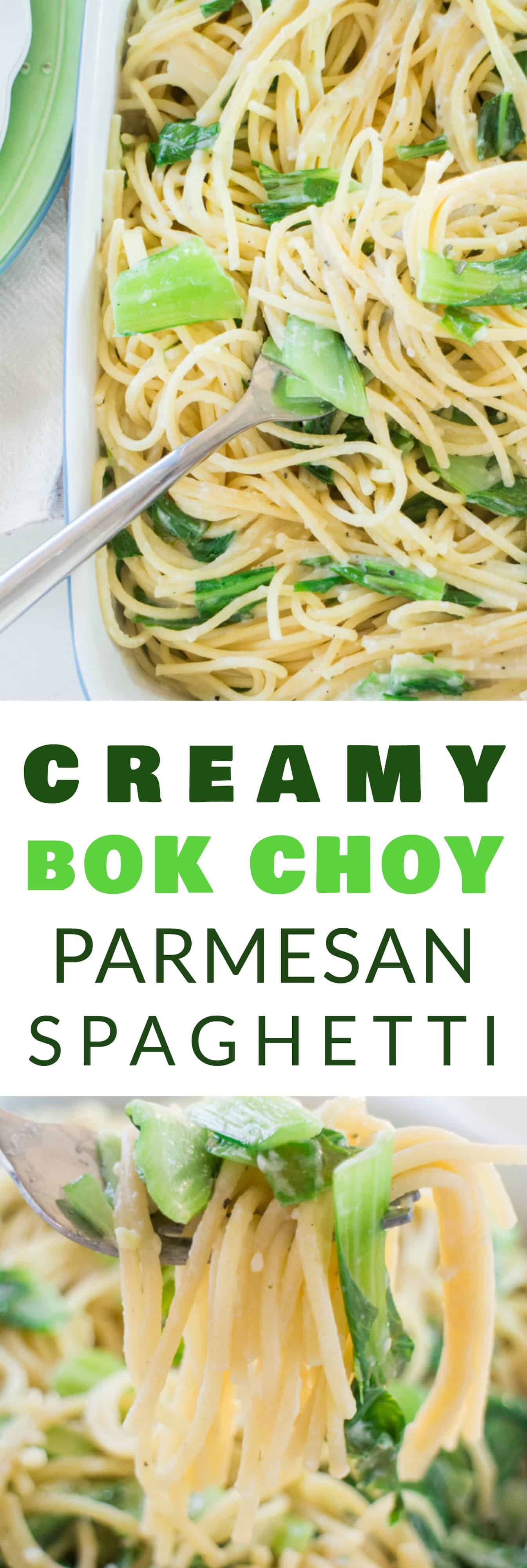 HEALTHY Creamy Bok Choy Spaghetti made with Parmesan Cheese! This is a great way to sneak in vegetables for a meal your family will love! This easy recipe only uses 1/2 cup Parmesan Cheese and takes under 15 minutes to make! Sometimes I like adding chicken to it for more protein!