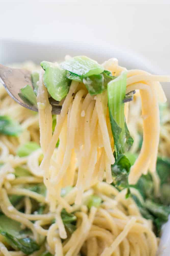 Creamy Bok Choy Spaghetti is a delicious healthy meal that your family will love! It only uses 1/2 cup Parmesan Cheese and takes under 15 minutes to make!