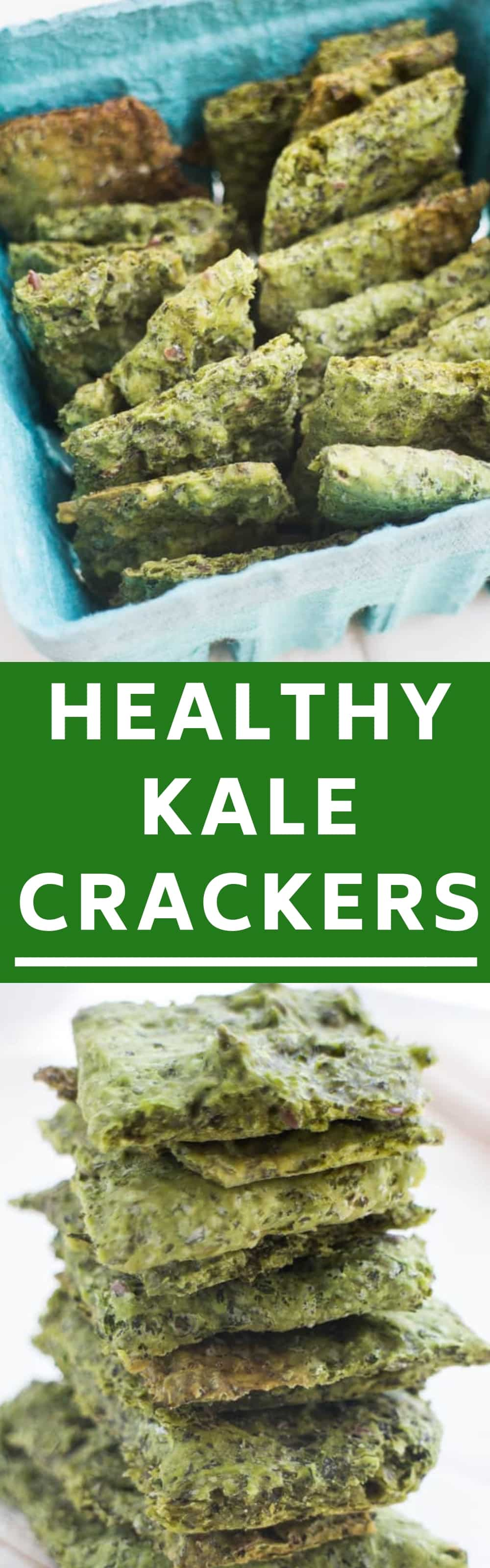 Easy homemade kale crackers recipe made by combining kale and flour.  They are sprinkled with salt to make a healthy snack! I love these as a healthy, low carb alternative to potato chips!