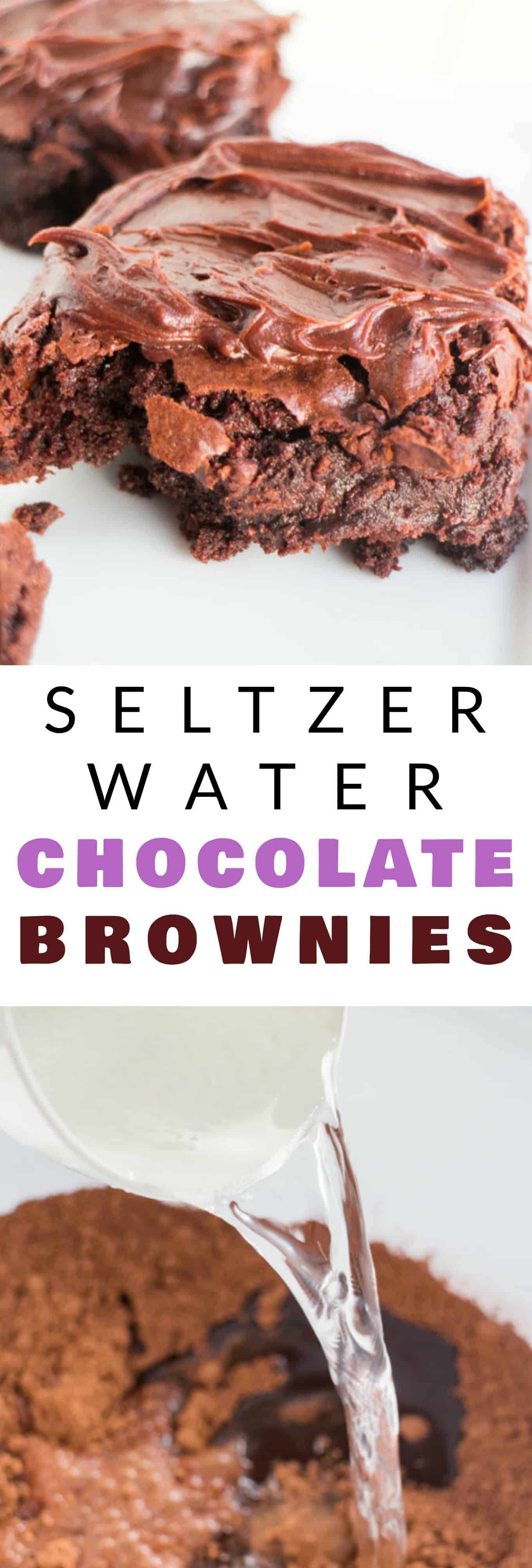 FUDGY Chocolate Brownies made with SELTZER water! Easy Homemade Double Chocolate Brownies recipe that uses seltzer water to make the brownies extra fluffy and moist! These gooey brownies are made from scratch and have a amazing chocolate frosting on top! My husband considers these the BEST brownies ever!