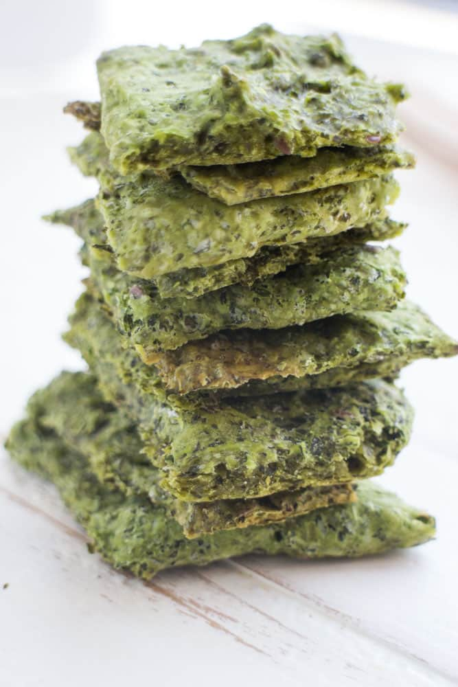 Simple Homemade Kale Crackers. These homemade crackers are made by combining a bunch of kale and flour. They are sprinkled with salt to make a delicious snack or appetizer. You're going to love these healthy crackers!