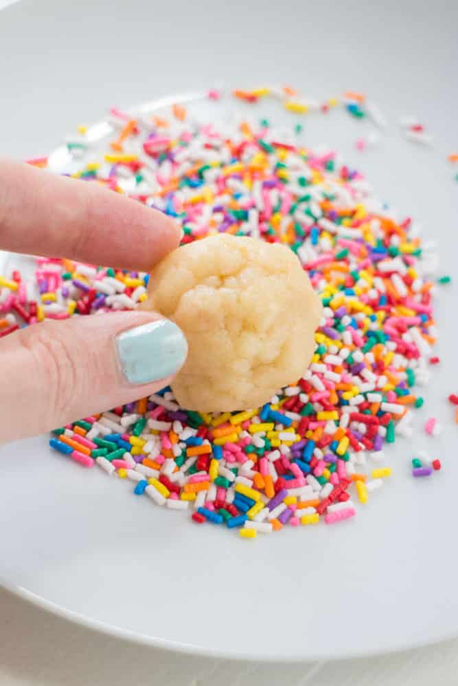 Sprinkled Butter Cookies are delicious! Roll them around in colored sprinkles to make them more festive. This recipe uses evaporated milk to make the cookies extra soft! Recipe makes 2 dozen cookies.