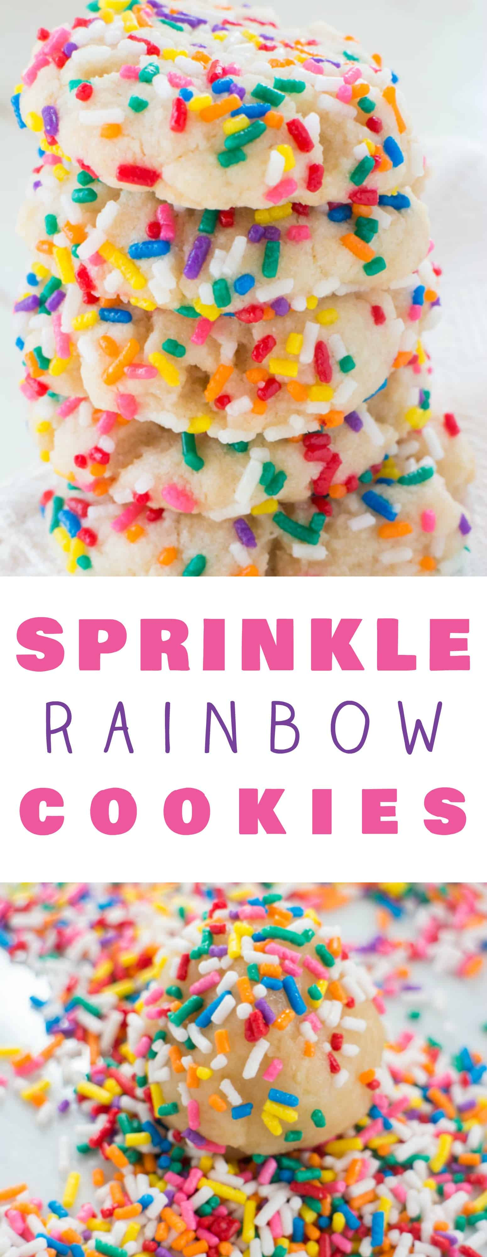 RAINBOW Sprinkled BUTTER Cookies! They taste like Funfetti Butter Cookies! These delicious cookies are easy to make and uses evaporated milk to make the cookies extra soft! They melt in your mouth! Roll them around in colored sprinkles to make them more fun! Recipe makes 2 dozen cookies.