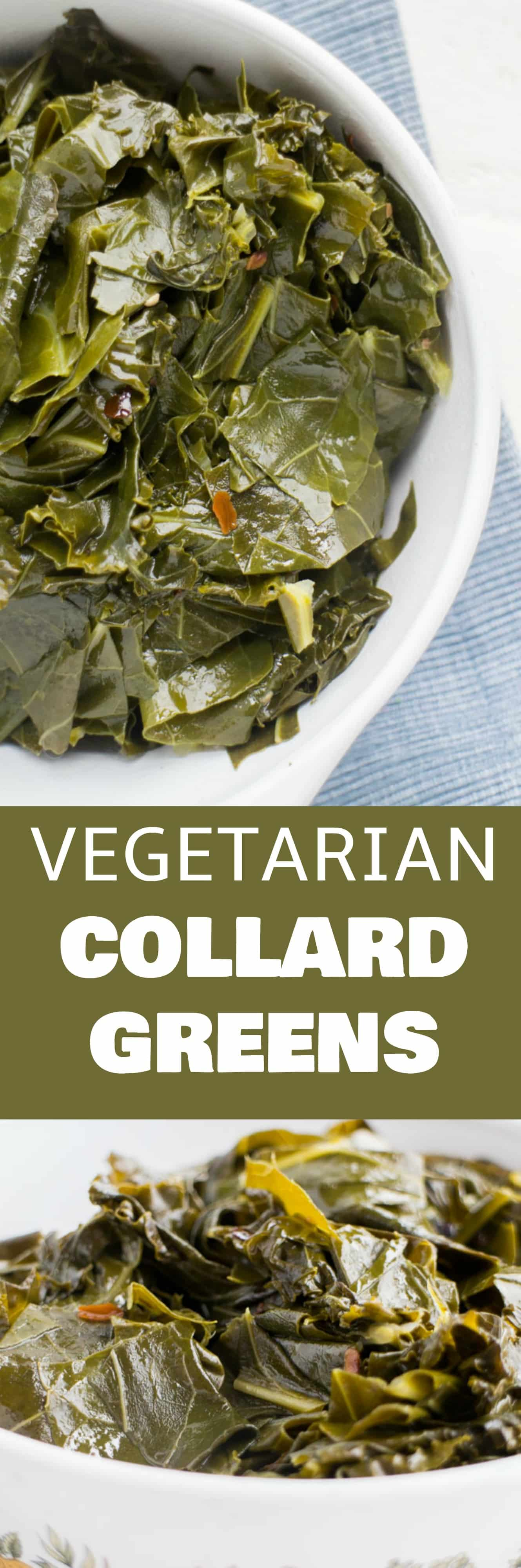 Easy Vegetarian Collard Greens recipe.  These greens are simmered in a brown sugar vegetable broth making them full of flavor!