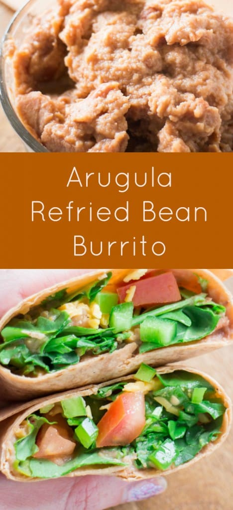 Arugula Refried Bean Burrito is a healthy Summer meal made with canned refried beans and fresh arugula. Dinner is made in 5 minutes!