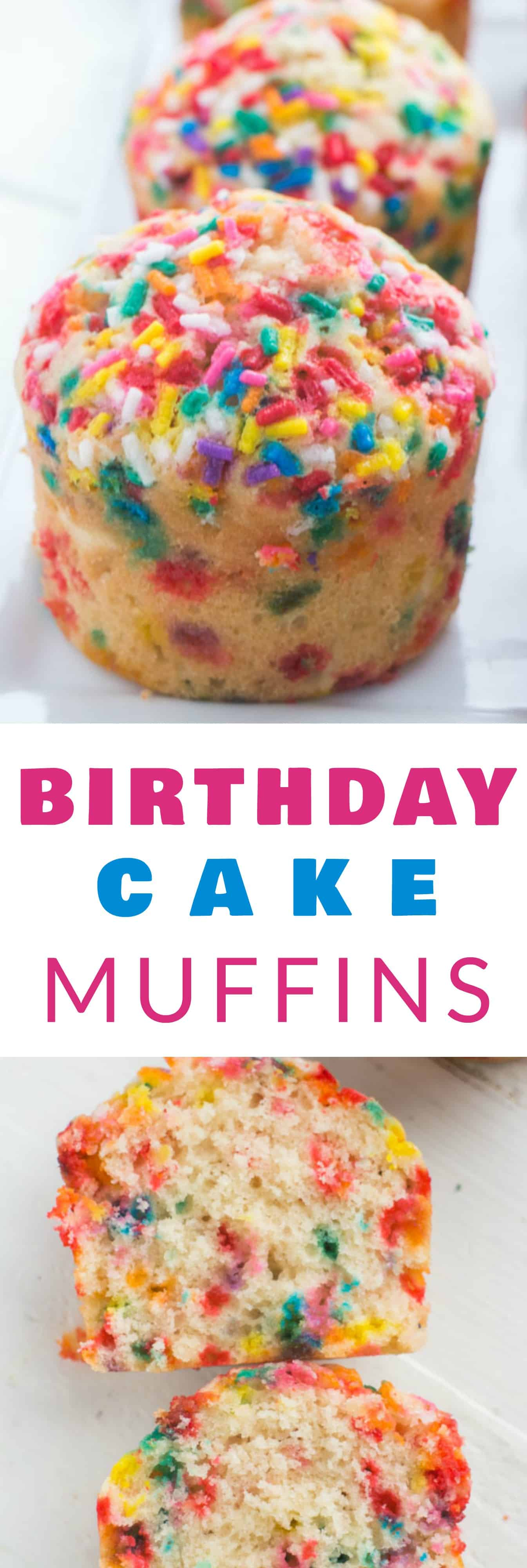 Fluffy, SPRINKLE BIRTHDAY CAKE Muffins that taste just like birthday cake! This is a easy rainbow muffins recipe that is pretty and perfect for happy birthday parties and birthday breakfast.  Kids LOVE these FUN birthday muffins!