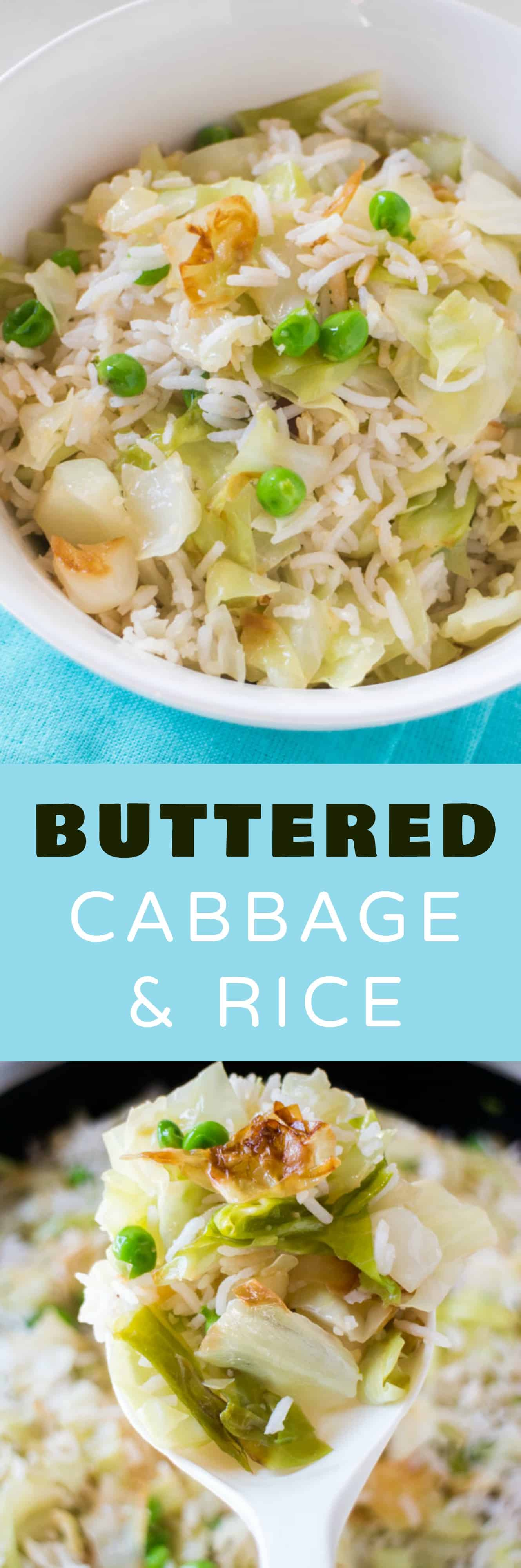 EASY Buttered Rice and Cabbage dinner! This is one of the best buttered cabbage recipes!  This dish uses cooked cabbage and is ready in 20 minutes!  It's a healthy vegetarian rice meal my entire family loves!