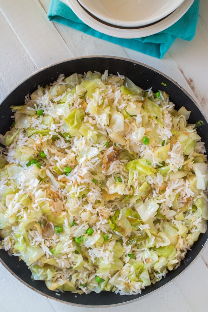 Cabbage and Rice in Pan
