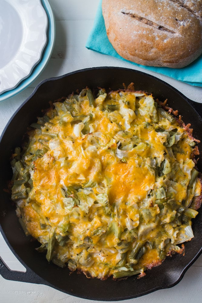 Cheesy Cabbage in Cast Iron Skillet