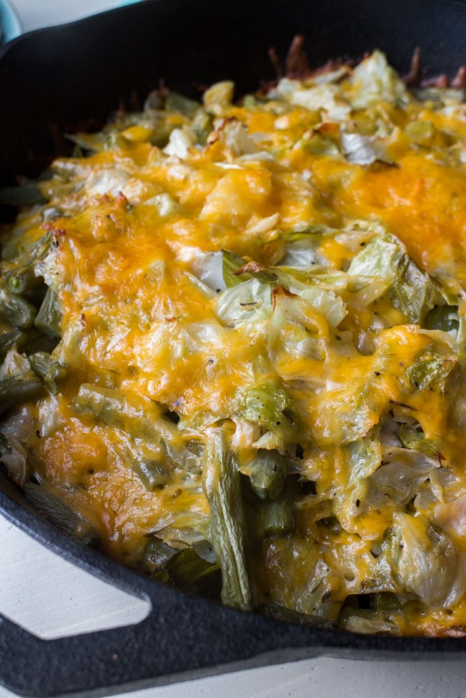 NO PASTA Macaroni and Cheese made with Green Beans, Cabbage and Cheese!  This easy baked casserole is simple to make and uses fresh vegetables instead of pasta.  This homemade recipe is much more healthy than the usual macaroni and cheese dish!