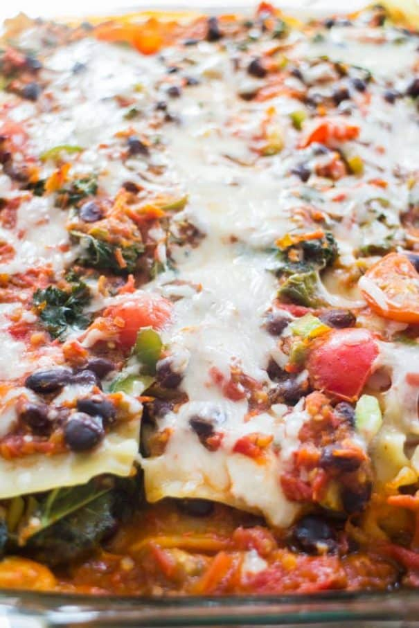 VEGETARIAN MEXICAN LASAGNA Bake is filled with vegetables, noodles, ricotta and mozzarella cheese! Taco seasoning gives it a delicious Mexican flavor! This healthy meal recipe is easy to make and can be prepared ahead of time for a quick weeknight meal, all you have to do is bake it!